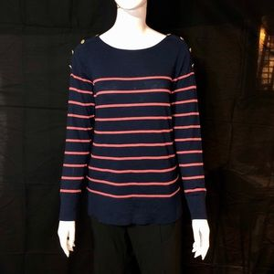 Ann Taylor Navy & Coral Boatneck Sweater